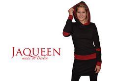 Kleid Kapuze schwarz dunkelrot von Jaqueen auf DaWanda.com