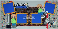 2 Premade Boy Scrapbook Pages Serious Gamer by bljgravesstudio