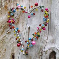 Karenza and Co Small Bright Multi Bead Hanging Heart