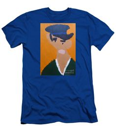Patrick Francis Designer Royal Blue Slim Fit T-Shirt featuring the painting Young Man With A Hat 2014 - After Vincent Van Gogh by Patrick Francis