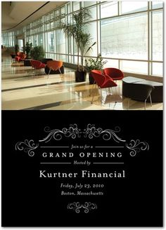 Grand re opening event invitation program by scot sterling via stately flourish corporate event invitations in black invitation with photo stopboris Images