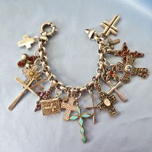 Chunky Loaded Sterling Gem Cross Charm Bracelet Vintage Bracelets