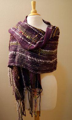Handwoven Saori-inspired Purple Shawl - via TextileTicketyBoo