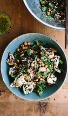 Roasted Cauliflower, Chickpea + Quinoa Salad with Jalapeno Lime Dressing