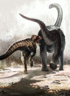 Acrocanthosaurustracking Paluxysaurus ( Sauroposeidon) by Cheung Chung Tat (~cheungchungtat on deviantART) paleoart | via Paleoillustration