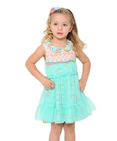 Look what I found on #zulily! Teal Mushroom Lace Dress - Toddler by Giovanna & Felice #zulilyfinds