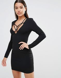 Club+L+Plunge+Bodycon+Dress+With+Harness+Detail