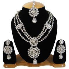 Ethnic Jewelry Silvertone Necklace Set Indian Bollywood CZ Stones Jewellery Sets #iba