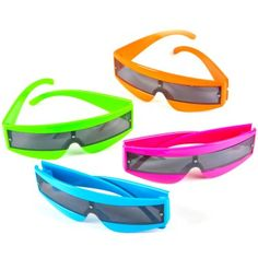 Brighten your futuristic view with these neon glasses! Glasses come in assorted colors, our choice please. One size fits most.Includes pair of neon sunglassess in assorted colors, our choice pleas Neon Birthday, Girls Birthday Party Themes, Theme Parties, 21st Birthday, Futuristic Party, Retro Futuristic, Kids Sunglasses, Mirrored Sunglasses, Sunglasses Case