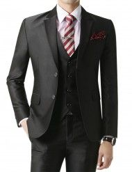 Doublju Men's 2 Button Suit Blazer Jacket Black Plus size (KMOBL024BIG)