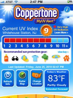 Cool app for sun protection.