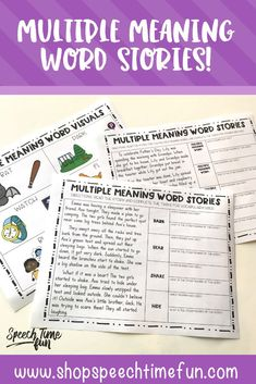 Multiple Meaning Word Stories - help you students build vocabulary at the story level with this no prep resource that you can use over and over again in speech and language therapy! #vocabulary #speechtherapy #noprepspeechtherapy