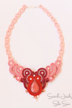 Red and Shades of Pink Handmade Soutache necklace