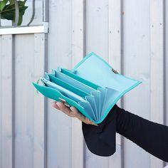 Grosses Portemonnaie Leder Türkis Blau groß von elfenklang auf Etsy
