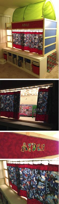 """Ikea Kura Loft Bed Hack, Avengers Room with custom platform and a crawl space underneath the bed. Christmas lights in the """"Avengers Headquarters"""""""