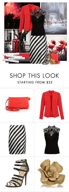 """""""Red + Striped Neutrals"""" by cdolphina2 ❤ liked on Polyvore featuring Tory Burch, Ann Demeulemeester, Lipsy, Christian Louboutin, Citrine by the Stones and perfectoutfit"""