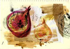 Clair Rossiter Illustration (today i have painted some figs) A Level Art Sketchbook, Artist Sketchbook, Food Illustrations, Illustration Art, Natural Forms Gcse, Observational Drawing, Sketchbook Inspiration, Sketchbook Ideas, Fruit Art