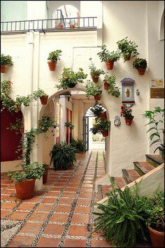 Marbella, Spain. Pasaje Paco Lorenzo.  Marbella Old Town. Patio andaluz Marbella, Málaga.   ,