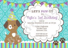 Puppy Birthday Invitation -  DIY Print Your Own - Matching Party Printables available on Etsy, $11.00