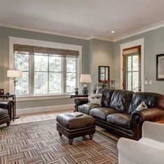 "The living room wall color is Sherwin Williams ""Contented"" *window treatments, paint color, couch* Paint Colors For Living Room, Paint Colors For Home, House Colors, Family Room Colors, Home Living Room, Living Room Decor, Room Color Schemes, Paint Schemes, Leather Furniture"
