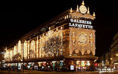 Galeries Lafayette in arrondissement of Paris, France Paris In January, Paris In Spring, Gallerie Lafayette, Galeries Lafayette Haussmann, Galerie Lafayette Paris, Christmas In Paris, Christmas Trees, Paris Travel, The Journey