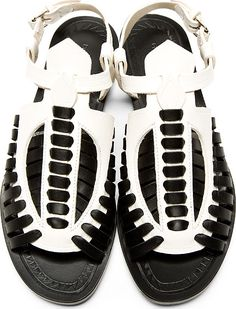 Proenza Schouler: Black & White Woven Leather Flat Sandals