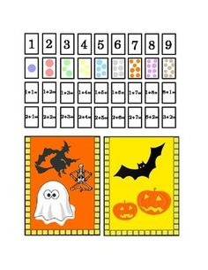 Halloween Number Recognition Glue, Hole Punch or Staple. Cut out bag, place back to back. Fill it up with the cut-out cards. Kindergarten math addition 1's 2's. Dots, colors, numbers, arts and craft bag. Take home, or math center. 1 page. Printable.Common Core Worksheet Printable.