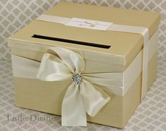 ☆ Dimensions: 11 x 11 x 7  CUSTOM MADE 1 TIER WEDDING CARD BOX  ☆ Need it Super FAST? Shipping upgrades are available. Add to cart to view delivery options ☆  **Quality and originality counts!**  We hand make with care using only the finest materials.  This Card Box is big enough to hold 100-200 cards. The slot is big enough for those unusually shaped cards. You can be assured that the cards, gift cards and money inside are secure and not easy to open. Monogram card sold separately…
