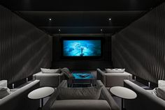Contemporary Home Theater with interior wallpaper, Exposed beam, Carpet Home Cinema Room, At Home Movie Theater, Home Theater Rooms, Home Theater Seating, Home Theater Design, Interior Wallpaper, London House, Piece A Vivre, Luxury Interior Design