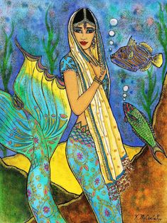 Beautiful Lovely East Indian Mermaid Fantasy by karenmccantsart