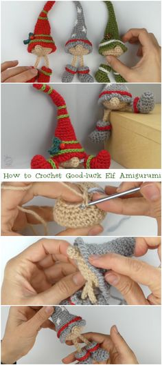 How to Crochet Good-luck Elf Amigurumi Free Tutorial – Crochetopedia – nisse Crochet Christmas Gifts, Crochet Ornaments, Holiday Crochet, Crochet Gifts, Crochet Dolls, Knit Crochet, Easy Crochet Patterns, Knitting Patterns, Xmax
