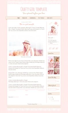 Blogger template. Crafty girl. Responsive blog design by Rainy Day Blog Design Studio