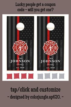 Firefighter Themed American Flag Maltese Cross Cornhole Set - tap, personalize, buy right now! #CornholeSet #volunteer #fireman, #firefighter, #volunteer, #fire