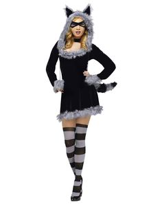 Racy Raccoon Adult Women's Costume at Spirit Halloween - On nights when the moon hangs low you can sneak around in this Racy Raccoon adult women's costume. The long-sleeved, black velvet dress features gray plush faux fur trim and comes complete with a black eye mask, tail, hood with ears and matching stockings. Get yours for $49.99.