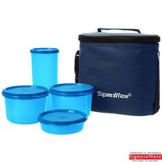 Signoraware Combo Medium Executive Lunch Box With Insulated Bag, Blue