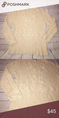 J. Crew sweater Tan in color. Crochet! Gently used condition J. Crew Sweaters Crew & Scoop Necks