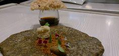Focaccia de foie gras con migas de maíz y helado de mole.