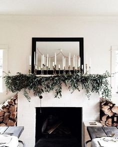 Christmas Mantle Decor 1 (Christmas Mantle Decor design ideas and photos Christmas Mantels, Noel Christmas, Winter Christmas, Xmas, Christmas Mantle Decorations, Homemade Christmas, Christmas Music, Scandi Christmas, Christmas Vacation