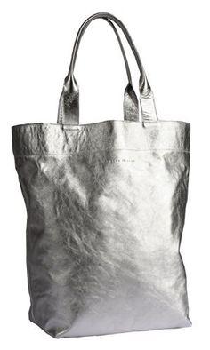 Petra Dieler Nappa Leder Shopper 24207NSMP-95, Damen Designer Shopper 48x43 cm (B x H), silber