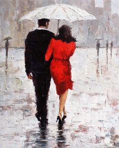 "R Virbickas Art Original Impressionistic Painting on Canvas ""Couple"" | eBay"