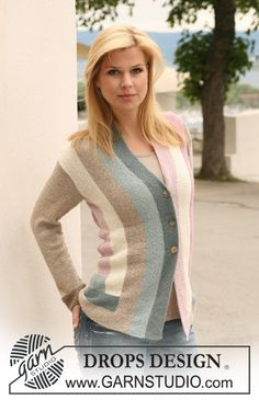 """DROPS 124-18 - DROPS jacket knitted in angles in """"Alpaca"""". Size S to XXXL. - Free pattern by DROPS Design"""
