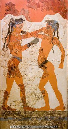 Akrotiri - Fresco de los púgiles (habitación B1, edificio B). Fechado entre 2.000-1.800 aC.