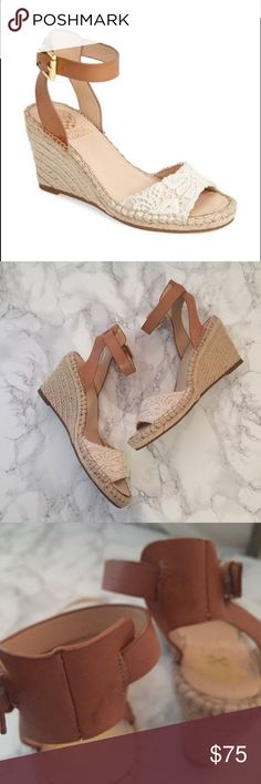 "Vince Camuto ""Tagger"" espadrille wedges Worn once.  Small spot on back of heel strap as shown.   No trades. Reasonable offers welcome 🍾Note: 20% off bundles of 2+ items in my closet! Vince Camuto Shoes Wedges"