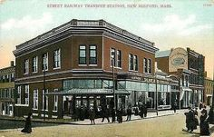 New Bedford Massachusetts 1908 Railway Transfer Station Antique Vintage Postcard New Bedford Massachusetts MA Circa 1908 Street Railway Transfer Station with Talbot and Co on right. Unused Metropolita