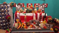 """Sacramento, CA ~ Veterans' Altar on view at The California Museum October 30 - November 11, 2015, organized by volunteers of the California Mexican-American Veterans' Memorial Committee, as part of the Museum's public programming for """"Day of the Dead: Art of Dia de Los Muertos 2015,"""" an exhibit featuring original art by 5 California artists and contemporary altar installations dedicated to legendary Californians who inspire them, such as labor activist Cesar Chavez, who served in the U.S."""