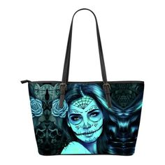 Calavera Girl Small Leather Tote Bag - Black & White - Pink - Blue