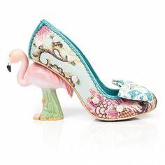 Irregular Choice Blushing Bird Flamingo Heeled Shoes - Green/Pink