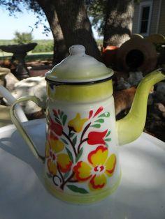 Beautiful Vtg Enamelware Enamel Yellow Shaded Flowers Gooseneck Coffee Tea Pot   eBay