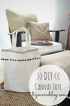 canvas tote - fabric marker and pom poms