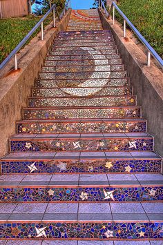 celestial stairs :) Stairway to Heaven just so beautiful! Mosaic Stairs, Tiled Staircase, Tile Stairs, Staircase Design, Mosaic Walkway, Stair Design, Spiral Staircases, Mosaic Garden, Diy Design